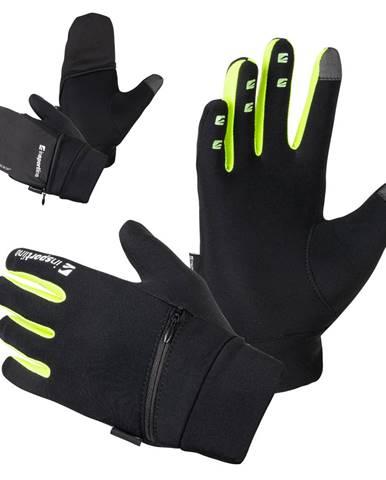 Bežecké rukavice inSPORTline Tibidabo čierna-fluo - S