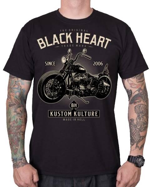 BLACK HEART Tričko BLACK HEART Motorcycle čierna - M