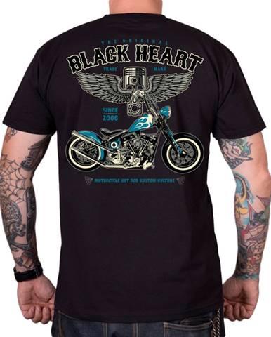 Tričko BLACK HEART Blue Chopper čierna - M