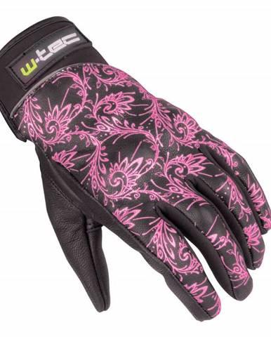 Dámske kožené moto rukavice W-TEC Malvenda NF-4208 Farba čierna s ružovou grafikou, Veľkosť XS