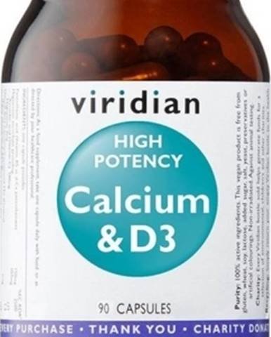 Viridian High Potency Calcium & D3 (Vápnik s Vitamínom D3) 90 kapsúl